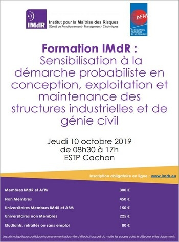 Formation « Sensibilisation à la démarche  probabiliste en conception, exploitation et maintenance des structures industrielles et de génie civil »