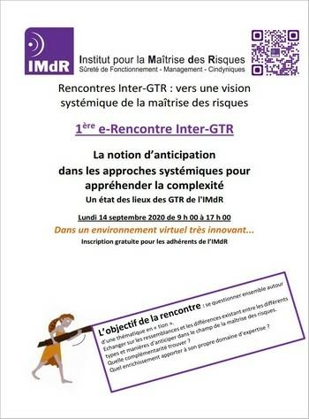 Les Rencontres Inter-GTR 2020 : La notion d'anticipation dans les approches systémiques pour appréhender la complexité