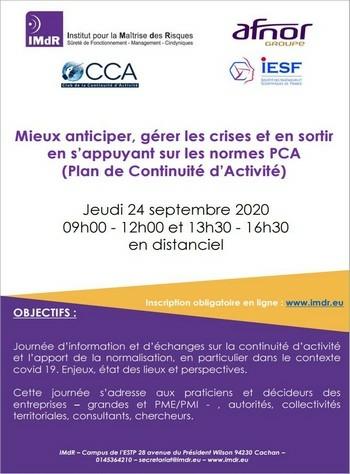 Mieux anticiper, gérer les crises et en sortir en s'appuyant sur les normes PCA (Plan de Continuité d'Activité)
