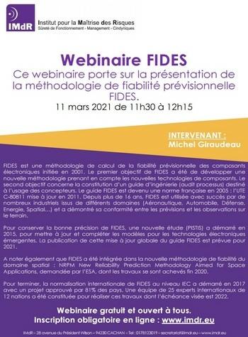 Webinaire Présentation de la méthodologie de fiabilité prévisionnelle FIDES