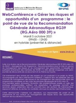 WebConférence « Gérer les risques et opportunités d'un programme : le point de vue de la Recommandation Générale Aéronautique RG39 »