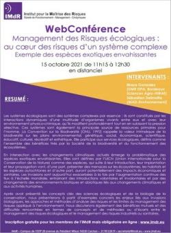WebConférence « Management des risques écologiques : au cœur des risques d'un système complexe - Exemple des espèces exotiques envahissantes »