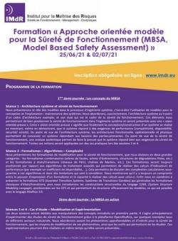 Formation « Approche orientée modèle pour la Sûreté de Fonctionnement (MBSA, Model Based Safety Assessment) »